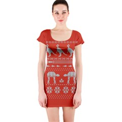 Holiday Party Attire Ugly Christmas Red Background Short Sleeve Bodycon Dress