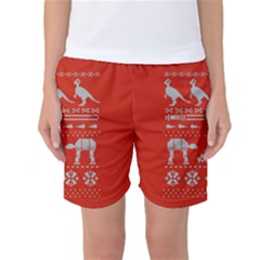 Holiday Party Attire Ugly Christmas Red Background Women s Basketball Shorts