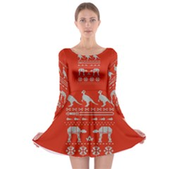 Holiday Party Attire Ugly Christmas Red Background Long Sleeve Skater Dress