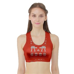 Holiday Party Attire Ugly Christmas Red Background Sports Bra with Border