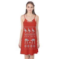 Holiday Party Attire Ugly Christmas Red Background Camis Nightgown