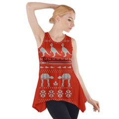 Holiday Party Attire Ugly Christmas Red Background Side Drop Tank Tunic