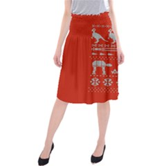 Holiday Party Attire Ugly Christmas Red Background Midi Beach Skirt