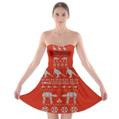 Holiday Party Attire Ugly Christmas Red Background Strapless Bra Top Dress
