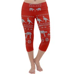 Holiday Party Attire Ugly Christmas Red Background Capri Yoga Leggings