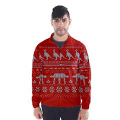 Holiday Party Attire Ugly Christmas Red Background Wind Breaker (Men)