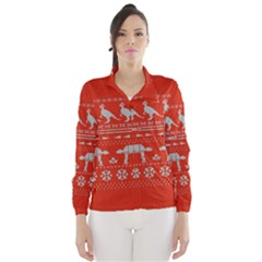 Holiday Party Attire Ugly Christmas Red Background Wind Breaker (Women)