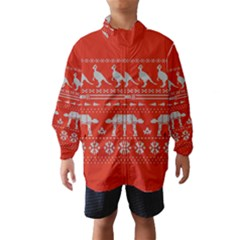 Holiday Party Attire Ugly Christmas Red Background Wind Breaker (Kids)