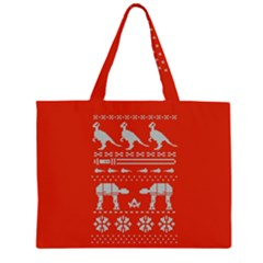 Holiday Party Attire Ugly Christmas Red Background Large Tote Bag