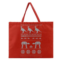 Holiday Party Attire Ugly Christmas Red Background Zipper Large Tote Bag