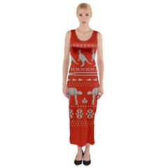 Holiday Party Attire Ugly Christmas Red Background Fitted Maxi Dress