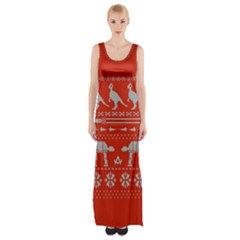 Holiday Party Attire Ugly Christmas Red Background Maxi Thigh Split Dress