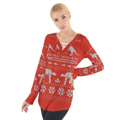 Holiday Party Attire Ugly Christmas Red Background Women s Tie Up Tee