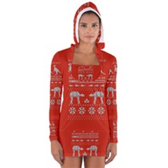 Holiday Party Attire Ugly Christmas Red Background Women s Long Sleeve Hooded T-shirt