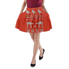 Holiday Party Attire Ugly Christmas Red Background A-Line Pocket Skirt