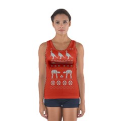 Holiday Party Attire Ugly Christmas Red Background Women s Sport Tank Top