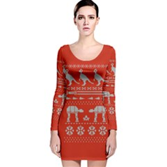 Holiday Party Attire Ugly Christmas Red Background Long Sleeve Velvet Bodycon Dress