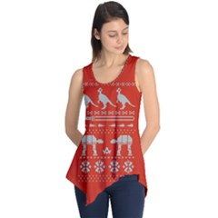 Holiday Party Attire Ugly Christmas Red Background Sleeveless Tunic