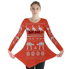 Holiday Party Attire Ugly Christmas Red Background Long Sleeve Tunic