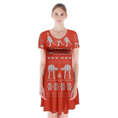 Holiday Party Attire Ugly Christmas Red Background Short Sleeve V-neck Flare Dress