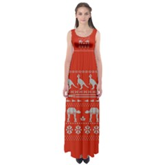 Holiday Party Attire Ugly Christmas Red Background Empire Waist Maxi Dress