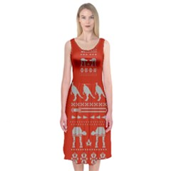 Holiday Party Attire Ugly Christmas Red Background Midi Sleeveless Dress