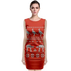 Holiday Party Attire Ugly Christmas Red Background Classic Sleeveless Midi Dress