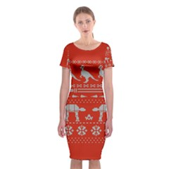 Holiday Party Attire Ugly Christmas Red Background Classic Short Sleeve Midi Dress