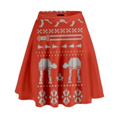 Holiday Party Attire Ugly Christmas Red Background High Waist Skirt