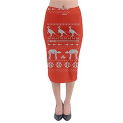 Holiday Party Attire Ugly Christmas Red Background Midi Pencil Skirt
