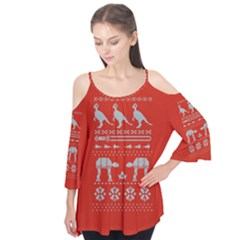 Holiday Party Attire Ugly Christmas Red Background Flutter Tees