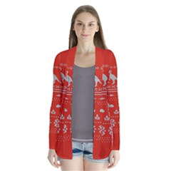 Holiday Party Attire Ugly Christmas Red Background Drape Collar Cardigan