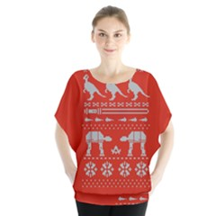 Holiday Party Attire Ugly Christmas Red Background Blouse