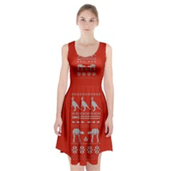 Holiday Party Attire Ugly Christmas Red Background Racerback Midi Dress