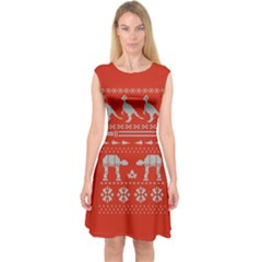 Holiday Party Attire Ugly Christmas Red Background Capsleeve Midi Dress