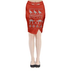 Holiday Party Attire Ugly Christmas Red Background Midi Wrap Pencil Skirt