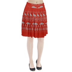 Holiday Party Attire Ugly Christmas Red Background Pleated Skirt
