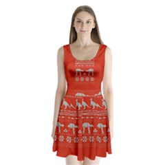 Holiday Party Attire Ugly Christmas Red Background Split Back Mini Dress