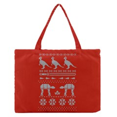 Holiday Party Attire Ugly Christmas Red Background Medium Zipper Tote Bag