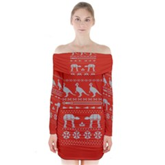 Holiday Party Attire Ugly Christmas Red Background Long Sleeve Off Shoulder Dress