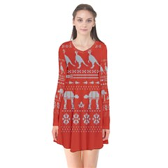 Holiday Party Attire Ugly Christmas Red Background Flare Dress