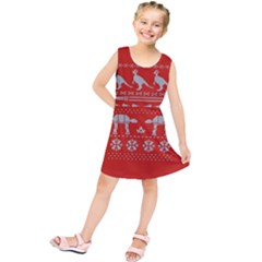 Holiday Party Attire Ugly Christmas Red Background Kids  Tunic Dress