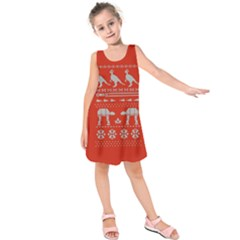 Holiday Party Attire Ugly Christmas Red Background Kids  Sleeveless Dress