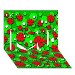 Xmas flowers I Love You 3D Greeting Card (7x5)