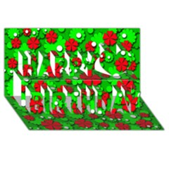 Xmas flowers Happy Birthday 3D Greeting Card (8x4)