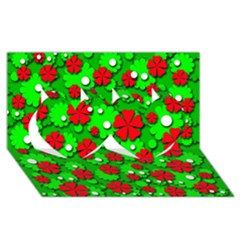 Xmas flowers Twin Hearts 3D Greeting Card (8x4)