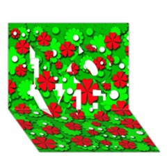 Xmas flowers LOVE 3D Greeting Card (7x5)