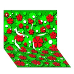 Xmas flowers Clover 3D Greeting Card (7x5)