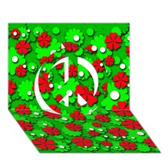 Xmas flowers Peace Sign 3D Greeting Card (7x5)