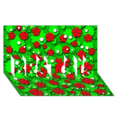 Xmas flowers BEST SIS 3D Greeting Card (8x4)